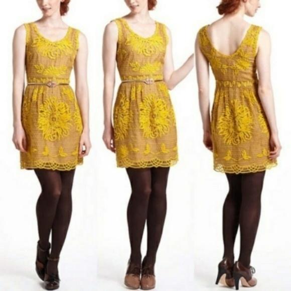 54cf61d1256f Anthropologie Dresses & Skirts - Yoana Baraschi Honeycomb Yellow Lace Dress  8
